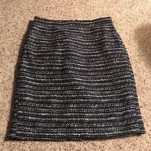 J crew blue wool mini pencil skirt size 00